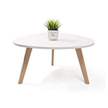 kinderkraft alta table basse scandinave aspect galet pieds en bois blanc
