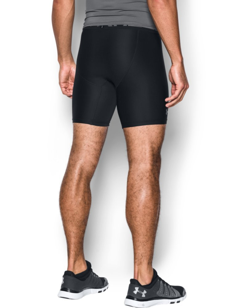 Under Armour Men's HeatGear Armour 2.0 Mid Shorts, Black (001)/Graphite, X-Small by Under Armour (Image #2)