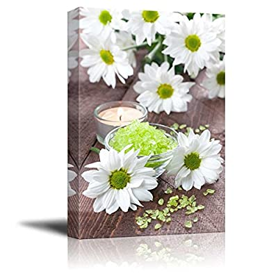 Spa Therapy Concept Green Bath Salt with Candle and Flowers Wall Decor