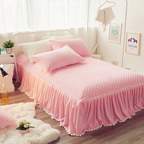 Pink Twin Dust Ruffle (LIFEREVO Luxury Velvet Dust Ruffle Bed Skirt Diamond Quilted Bedspread Bed Sheet 3 Sided Coverage 18-inch Drop with Pompoms Fringe (Twin Pink))