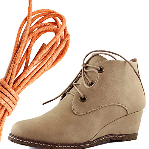 DailyShoes Womens Fashion Lace Up Round Toe Ankle High Oxford Wedge Bootie, Orange Beige Pu