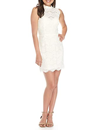 f274850cc Image Unavailable. Image not available for. Color: love, FiRE Junior  Sleeveless Lace White Mock Neck Dress ...