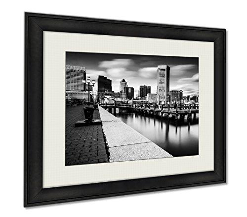Ashley Framed Prints Long Exposure Of The Baltimore Skyline And Inner Harbor Promenad, Wall Art Home Decoration, Black/White, 30x35 (frame size), - Harbor Baltimore Inner Shops