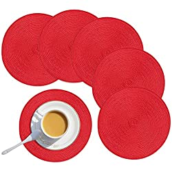 "Homcomoda Round Placemats,Red Christmas Round Placemats for Dining Table Set of 6-15""(Red)"