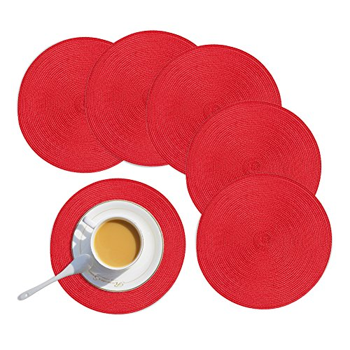 Homcomoda Round Placemats,Red Christmas Round Placemats for Dining Table Set of 6-15