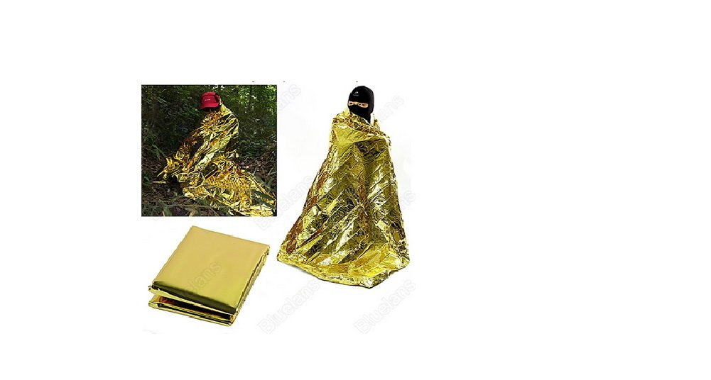 Emergency Blanket Survival Rescue Curtain Outdoor Life-saving Tent military Silver Gold