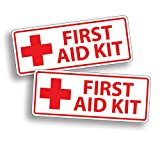 2 x WHITE First Aid Sticker Decal for Emergency Kid Camp DIY Box or Kit