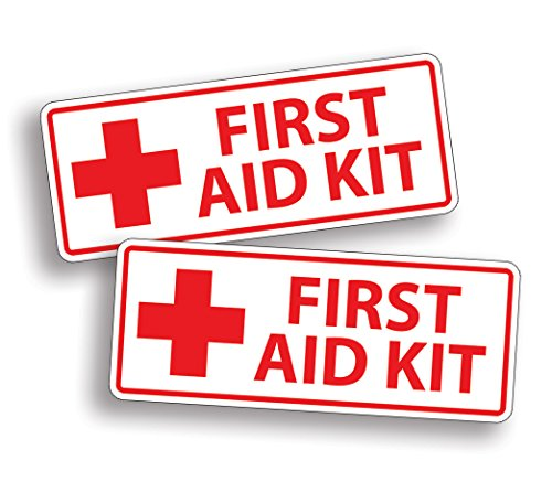 2 x WHITE First Aid Sticker Decal for Emergency Kid Camp DIY Box or Kit (Carton Custom)