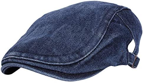 WITHMOONS Denim Flat Cap Newsboy Ivy Irish Hats Jean Cabbie Scally Cap MZ30040
