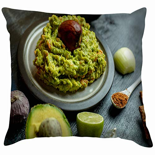 (Green Naturally Made Traditional Guacamole Surrounded Food and Drink Appetizer Cotton Linen Home Decorative Throw Pillow Case Cushion Cover for Sofa Couch 20X20)