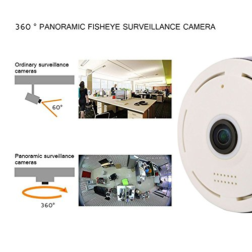 Mercu 960P HD E2 Panoramic WIFI Home Business Security IP Camera with Real Time 32ft Night View, ePTZ Fuction-360 Degree Fisheye P2P, Motion Detection(White) by Mercu