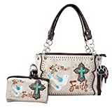 HW Collection Western Cross Doves Faith Carry Concealed Handbag Purse and Wallet (Beige)
