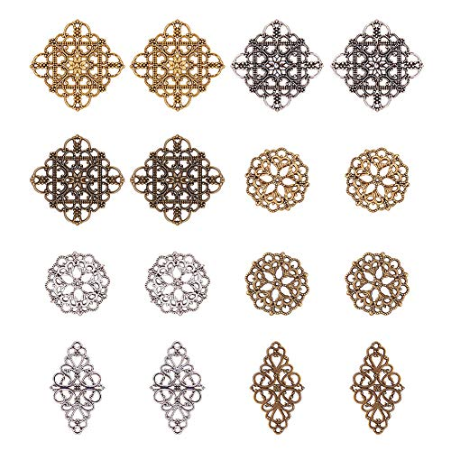 (PH PandaHall 40pcs 3 Color Rhombus & Round Flower Filigree Connectors Charms Pendants Filigree Metal Embellishments for DIY Hairpin Headwear Earring Jewelry Making)