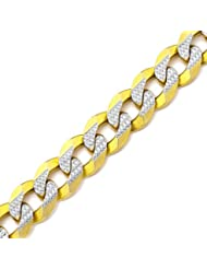 """LOVEBLING 10K Yellow Gold 14mm Solid Pave Two-Tone Curb Chain Bracelet White Gold Pave Diamond Cut Lobster Lock (7"""" to 9"""")"""