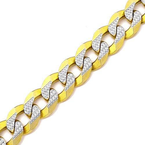 Gold Chain Pave Bracelet (LoveBling 10K Yellow Gold 14mm 7.5