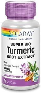 Solaray Guaranteed Potency Super Bio Turmeric Micronized, Veg Cap (Btl-Plastic) 300mg   30ct