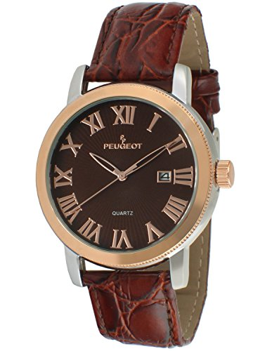 peugeot-mens-two-tone-quartz-metal-and-leather-dress-watch-colorbrown-model-2040rbr