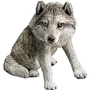 Sandicast Small Size Gray Wolf Sculpture, Sitting