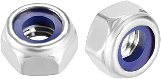 Pack of 10 Smooth Finish 316 Stainless Steel M8 x 1.25mm Hexagonal locknuts with Nylon Insert