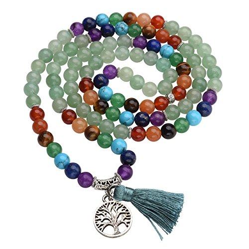 Top Plaza 7 Chakra Buddha Mala Prayer Beads 108 Meditation Healing Multilayer Bracelet/Necklace W/Tree of Life Tassel Charm, Green -