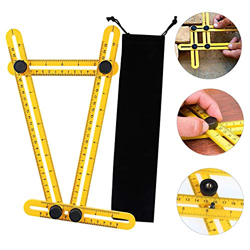 Multi Angle Measuring Ruler, Ultimate Template Tool Angle Measurement Tool for Craftsmen, Builders & Handymen (Round A Pavers Making Patio With)