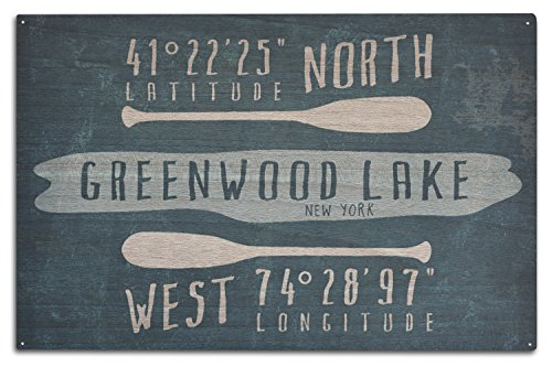 Greenwood Lake, NY - Lake Essentials - Latitude and Longitude (10x15 Wood Wall Sign, Wall Decor Ready to - Greenwood Park