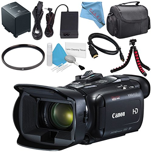 Canon VIXIA HF G21 HFG21 Full HD Camcorder 2404C002 + 58mm UV Filter + Flexible Tripod + Carrying Case + Deluxe Cleaning Kit + Mini HDMI Cable + Fibercloth Bundle