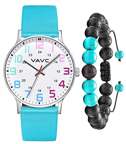VAVC Scrub Medical Watch for Nurses, Doctors, Students with Second Hand 24 Hour. Green Leather Watch