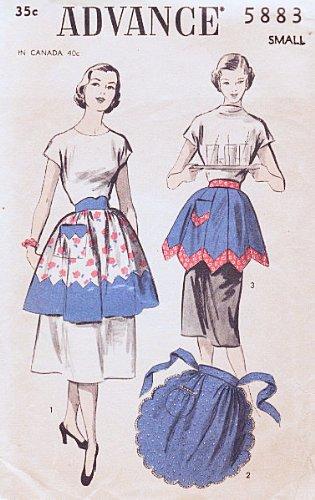 Advance 5883 Ladies Hostess Apron Sewing Pattern Unprinted Vintage 1951