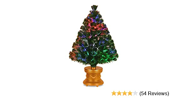 National Tree 36 Inch Fiber Optic Evergreen Firework Tree with Gold Column Base (SZEX7-100L-36-1)
