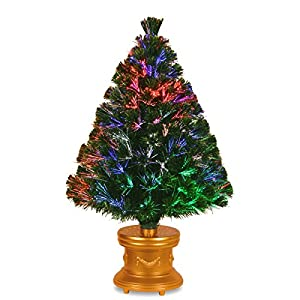 National Tree 36 Inch Fiber Optic Evergreen Firework Tree with Gold Column Base (SZEX7-100L-36-1) 59