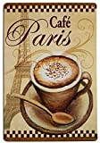ERLOOD Paris Cafe Vintage Funny Home decor Tin Sign Retro Metal Bar Pub Poster 8 x 12