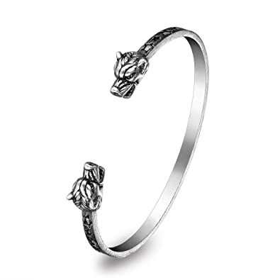 baec7c9b8 ... Skull/Wolf Head Adjustable Stainless Steel Open Cuff Bangle Bracelet  Stars Engraved with Blackened Process for Women Men Unisex Cuff Bracelet  Jewelry