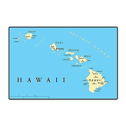 Amazon Com Hawaiian Decorations Floor Mat For Kids Map Of Hawaii