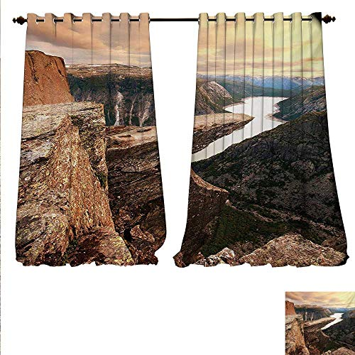 (familytaste Decor Curtains by Northern Mountains Canyon Landscape with Calm River in Norway Scenic Nature Tops Patterned Drape for Glass Door W72 x L84 Brown Green.jpg)