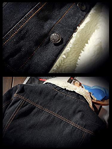 Outwear Black Size Cowboy Plus Jacket Denim zhxinashu Winter Casual Men's ngqxZqXR