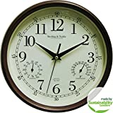 Mainstays Indoor/Outdoor Wall Clock, Antique Bronze