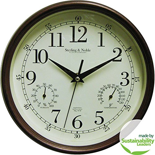 MAINSTAYS Indoor/Outdoor Wall Clock, Antique Bronze