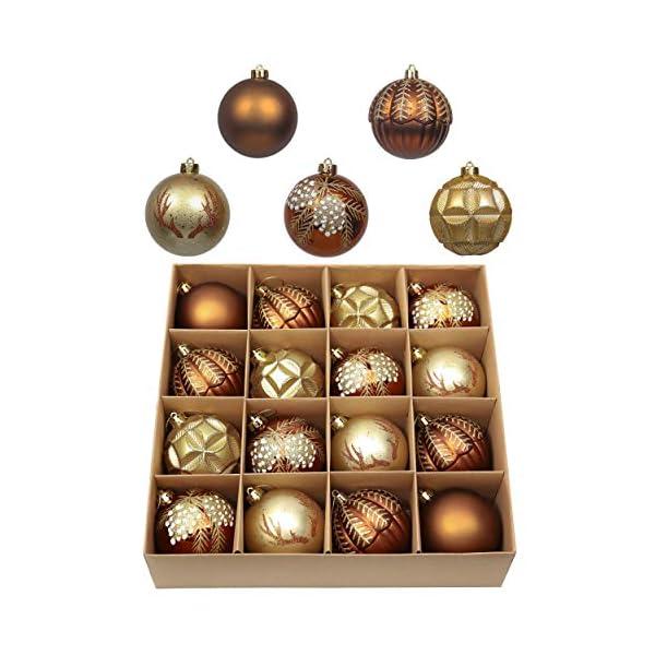 Valery Madelyn Palle di Natale 16 Pezzi 8cm Palline di Natale, Rame da Bosco e Oro Infrangibile Palla di Natale Ornamenti Decorazione per la Decorazione Dell'Albero di Natale 1 spesavip