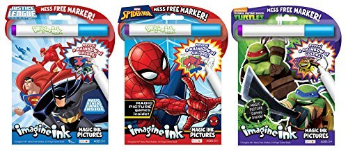 Bundle of 3 Imagine Ink Magic Pictures Activity Books - Justice League, Spider-Man, and Teenage Mutant Ninja Turtles -