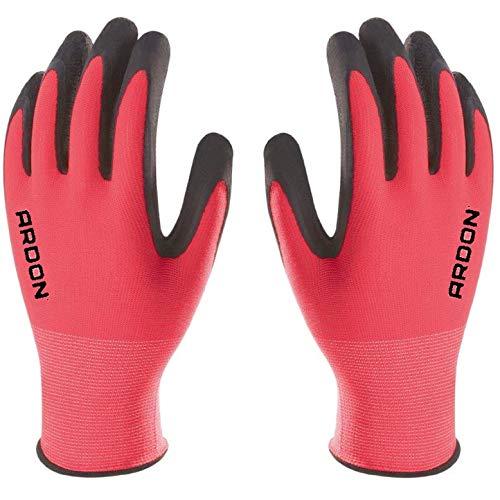 PETRA PROTECTION guantes de trabajo, alta calidad, nylon recubiertos con espuma de latex duradera y flexible Jardineria, industria, agricultura, transporte (1 Par, Rosa, talla 7 S)