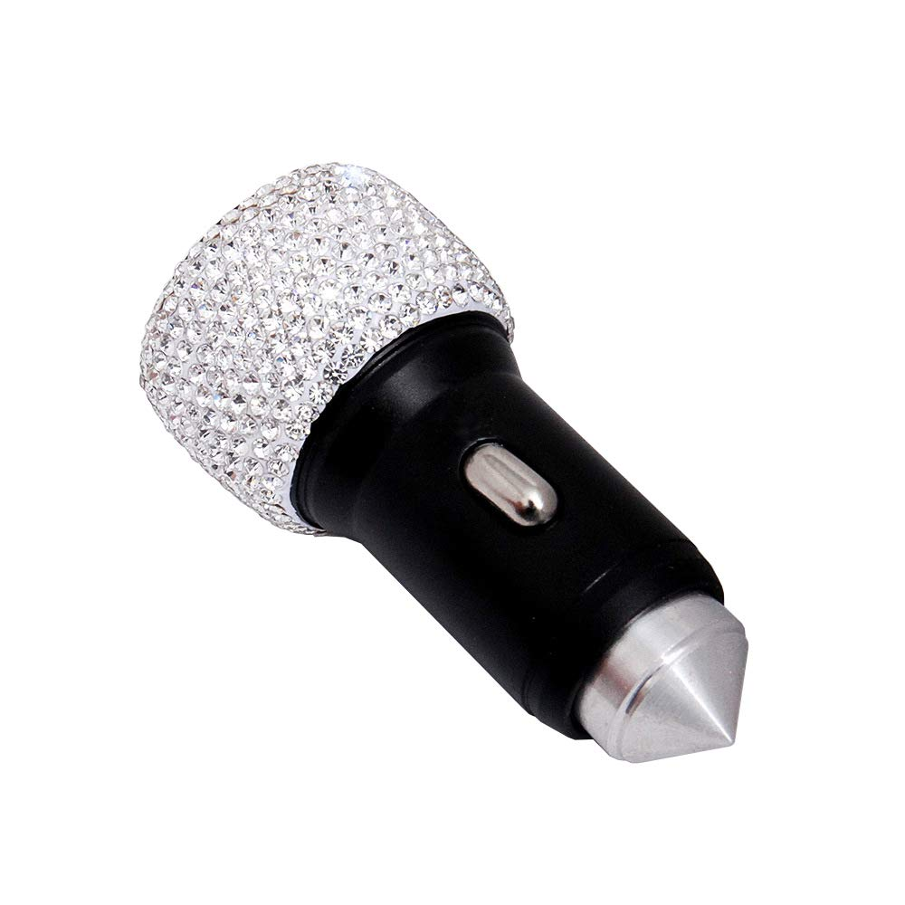 Alusbell Bling Bling Dual USB Car Charger Luster Crystals Car Interior Decor for Fast Charging for Android iPhone Samsung Galaxy Note 9//s8//S9//S9+,LG iPad Pro//Air 2//Mini etc Nexus White HTC