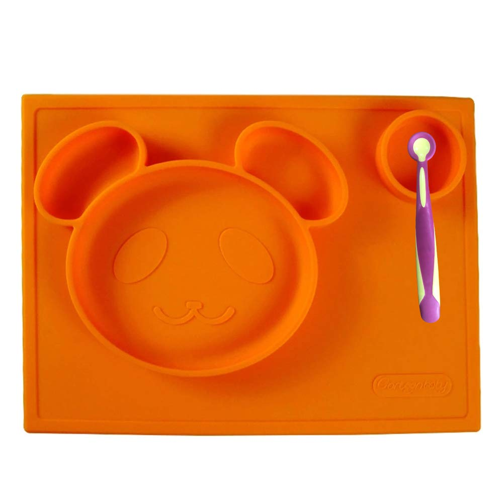 Senril Baby Placemat Silicone Suction Feeding Plate and Bowl for Children, Kids, Toddlers,Kitchen Dining Table (Orange)