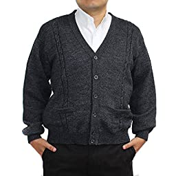 ALPACA CARDIGAN JERSEY BRIAD V neck buttons and Pockets made in PERU DARK GREY 4XL