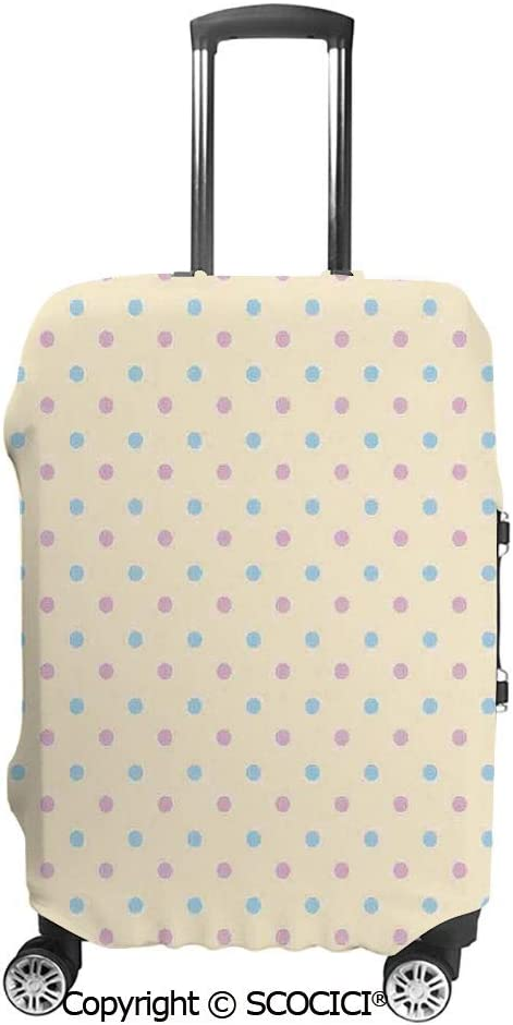 SCOCICI Luggage Suitcase Elastic Protective Covers Retro Polka Dots Small Coin Sized Little Spots Old Fashion Pattern for Men Women Travel Business