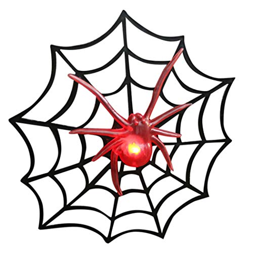 Outgeek Halloween Party Decoration Halloween Spider Web Creative Halloween Prop with Light for Haunted House -