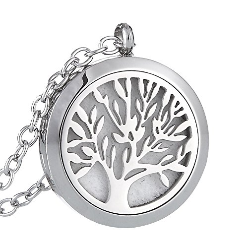 URPOWER Essential Oil Diffuser Necklace, Tree of Life Aromatherapy Diffuser Aromatherapy Essential Oil Diffuser Necklace Stainless Steel Locket Pendant Necklace Pendant with 24