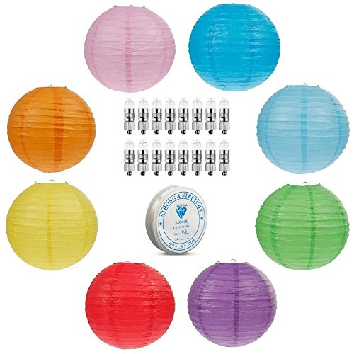 Round Paper Lantern Lamps ALL-IN-ONE Bundle: 8 Pack Colored 12' Inch Round Multi-Color Paper Lanterns | 16-Pack Warm Bright LED Lights w/ Batteries | BONUS 30 Yards Clear String Pack