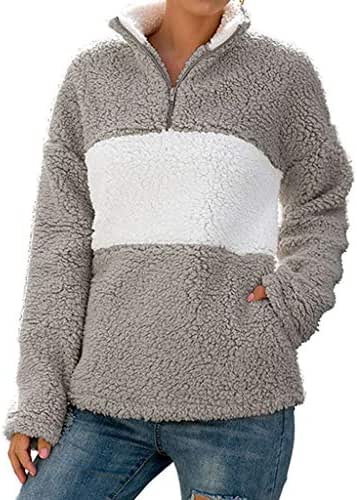 QIQIU Color Block Plush Sweatshirt, 2019 Womens Loose Casual Long Sleeve Zipper Patchwork Pullover Shirt Tops Blouse