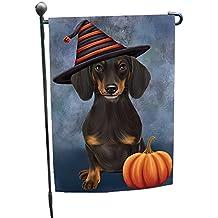 Happy Halloween Dachshund Dog Wearing Witch Hat with Pumpkin Garden Flag GF320